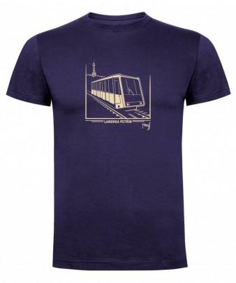 Tmavě modré triko s grafikou petřínské lanovky