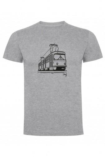 Šedé dětské triko s grafikou tramvaje ČKD Tatra T3