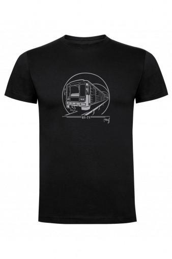 Černé dětské triko s grafikou soupravy metra 81-71
